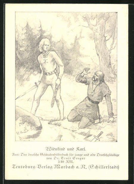 AK Widukind und Karl beim Kampf, Germanenkult, Bibliothek