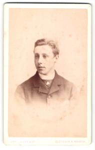 Fotografie John Miles & Co., Clevedon & Bristol, Portrait junger Herr mit Krawatte im Anzug
