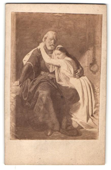 Fotografie Portrait Graf Guido von Flandern und Tochter im Gefängnis, Gemälde von G. Laves