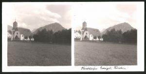 Stereo-Fotografie Fotograf unbekannt, Ansicht Oberstdorf, evangelische Kirche