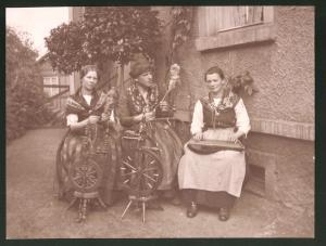 Fotografie Frauen und Transvestit in Tracht mit Zither & Spinnrad