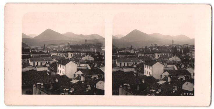 Stereo-Fotografie Ansicht Pallanza am Lago Maggiore, Totalansicht
