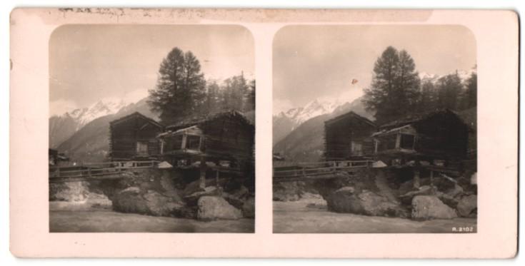 Stereo-Fotografie Ansicht Zermatt, Holzhütten
