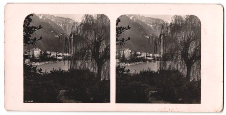 Stereo-Fotografie Ansicht Montreux, Blick zum Ort