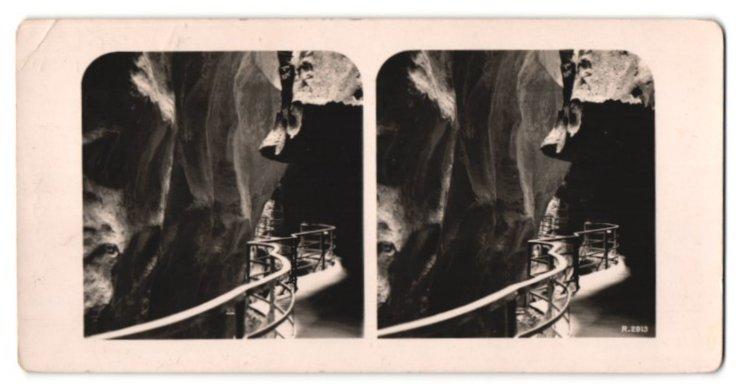 Stereo-Fotografie Ansicht Aare-Schlucht, in der grossen Enge