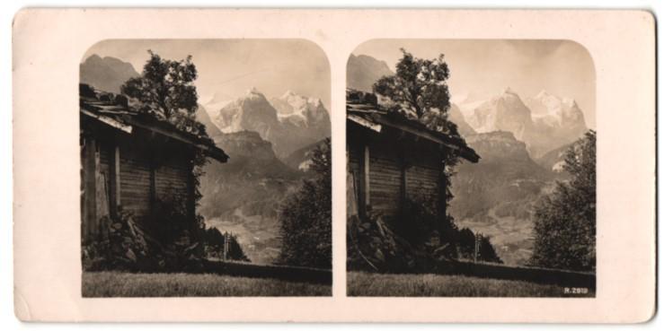 Stereo-Fotografie Ansicht Engel & Witterhörner, gesehen vom Hasli Berg