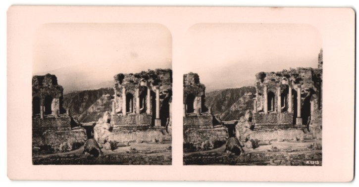 Stereo-Fotografie Ansicht Taormina, Griechisches Theater