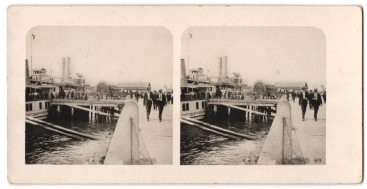Stereo-Fotografie Ansicht New York, Am Batterieplatz, Raddampfer