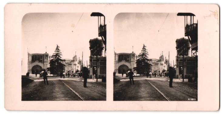 Stereo-Fotografie Ansicht M.W.A., Blick auf die Maschinenhalle, Ausstellung