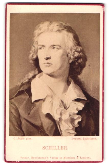 Fotografie Portrait Schiller, Gemälde von C. Jäger