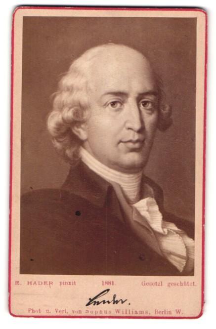 Fotografie Sophus Williams, Berlin, Portrait Johann Gottfried von Herder, Gemälde von E. Hader