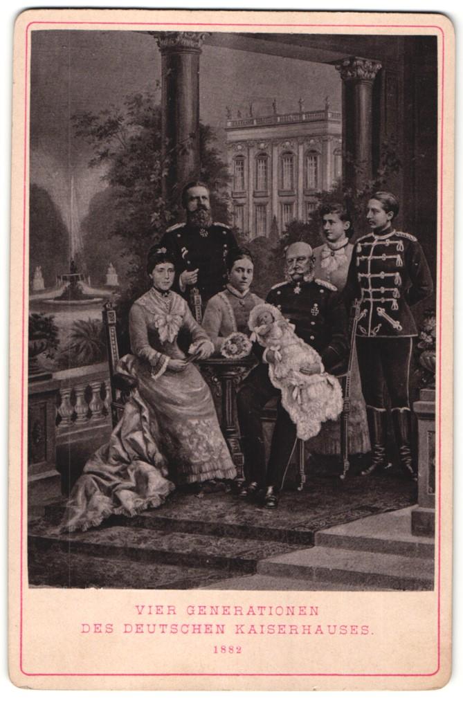Fotografie Portrait Kaiser Wilhelm I. mit Familie, vier Generationen