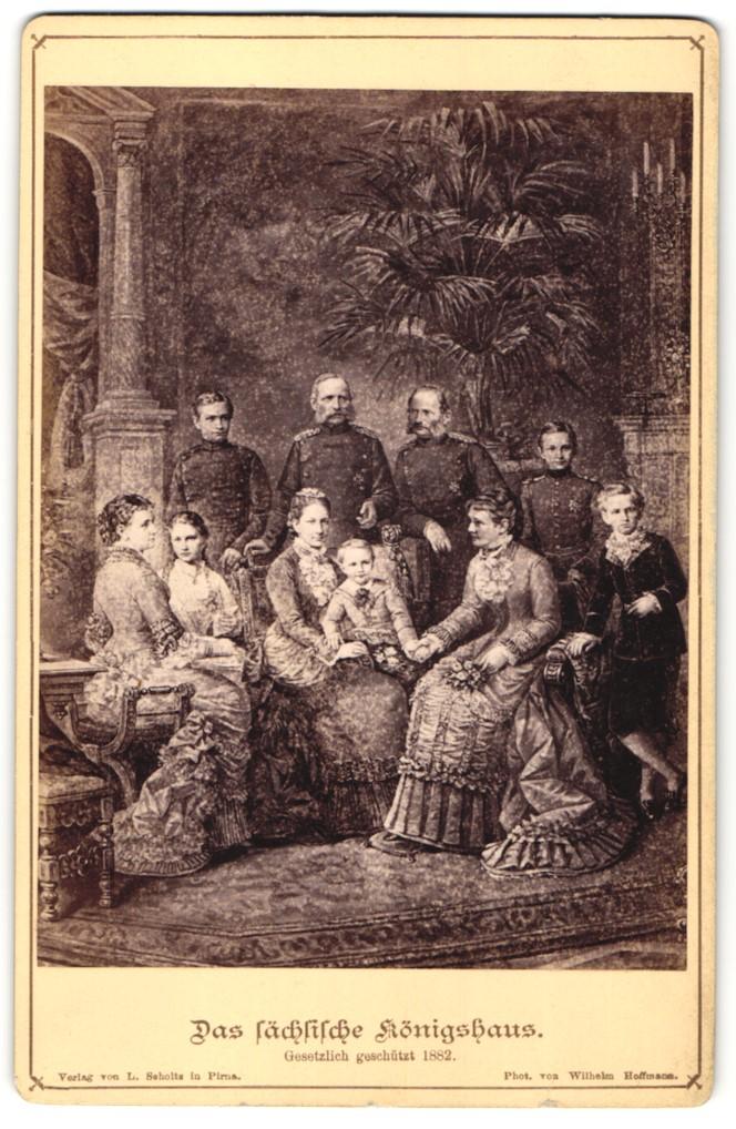 Fotografie Wilhelm Hoffman, Portrait König Georg von Sachsen und Familie