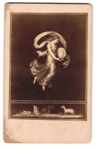 Fotografie Gemälde Raphael, Die Stunden des Tages IV., Dame mit Sonnenuhr