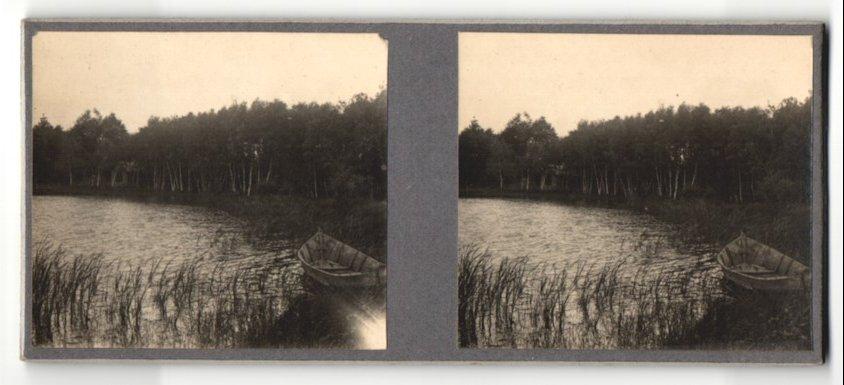 Stereo-Fotografie Fotograf unbekannt, Ansicht Triel-sur-Seine, Ruderboot am Ufer