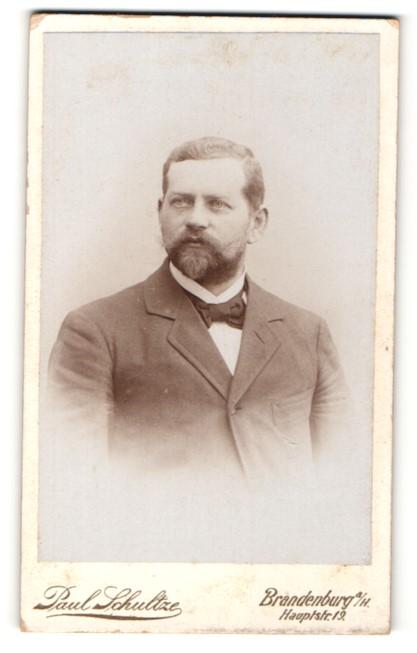 Fotografie Paul Schultze, Brandenburg a / H., Portrait charmanter Herr mit Vollbart u. Fliege im Anzug