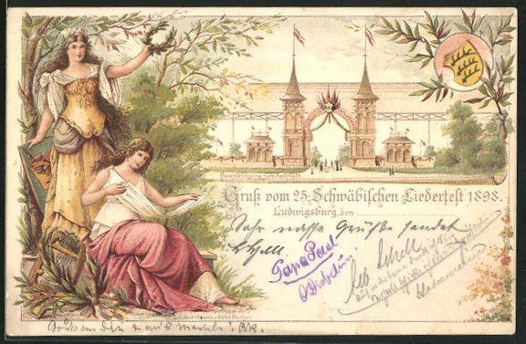 Lithographie Ganzsache Württemberg PP11C33: Ludwigsburg, 25. Schwäbisches Liederfest 1898, Eingang zum Festplatz