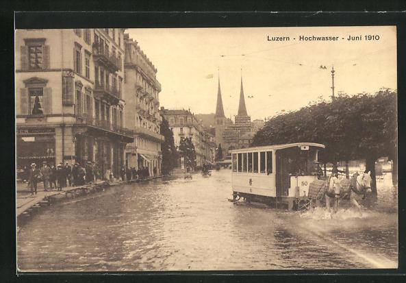 AK Luzern, Hochwasser im Juni 1910, Pferdebahn