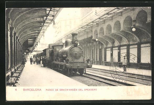 AK Barcelona, Paseo de Gracia-Andén del Apeadaro, Bahnhof mit haltendem Zug