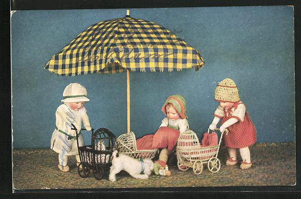 AK Käthe Kruse-Puppen als Puppenmuttis