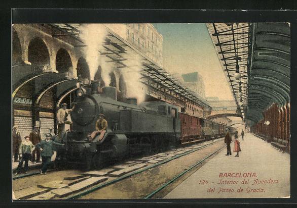 AK Barcelona, Interior del Apeadero del Paseo de Gracia, Bahnhof mit haltendem Zug