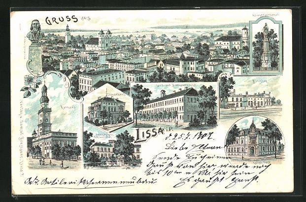 Lithographie Lissa / Leszno, Rathaus, Ständehaus, Bahnhof, Land- und Amtsgericht