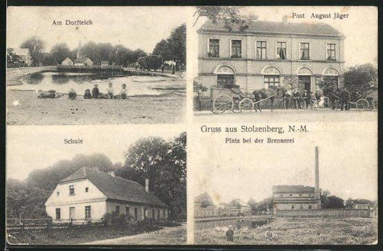 AK Stolzenberg, Gasthof Post August Jäger, Schule, Brennerei
