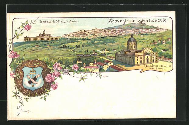 Lithographie Assisi, Panorama mit Grab des heiligen Franz von Assisi und Notre Dame des Anges