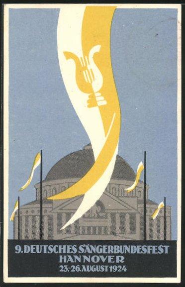 AK Hannover, 9. Deutsches Sängerbundesfest 1924, Kongress-Centrum