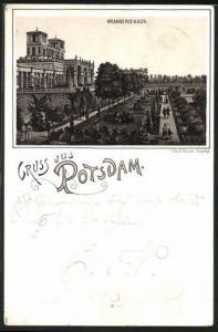 Vorläufer-Lithographie Potsdam, 1892, Panorama mit Orangeriehaus