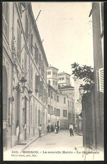 AK Monaco, La nouvelle Mairie et la Cathédrale