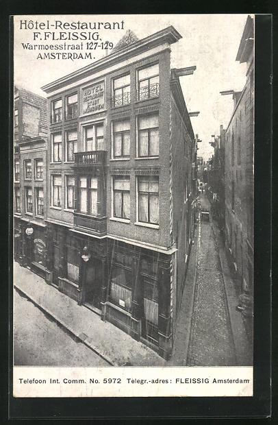 AK Amsterdam, Hotel-Restaurant F. Fleissig, Warmoesstraat 127-129