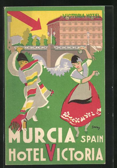 Künstler-AK Murcia, Hotel Victoria, Tanzende Spanier