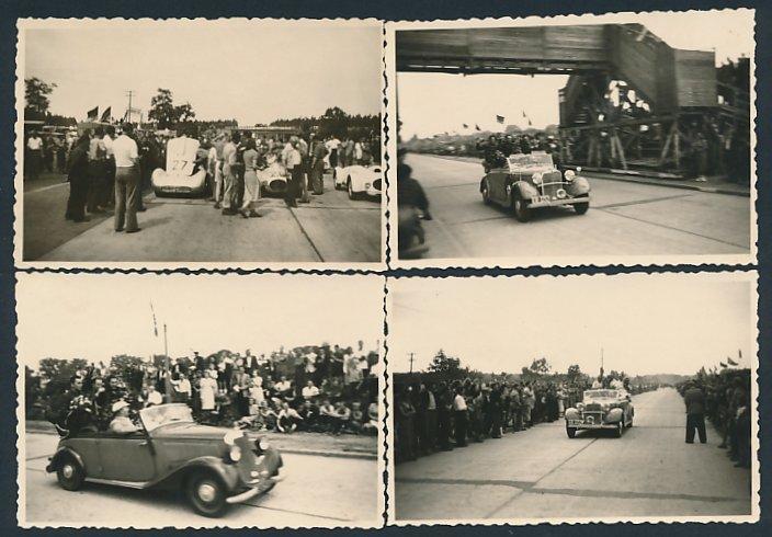 4 Fotografien Formel 2 Autorennen bei Halberstadt, Sieger bei Ehrenrunde im Mercedes Benz Cabrio