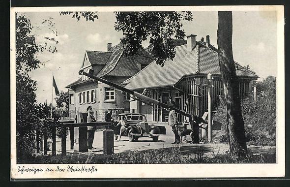 AK Schweigen a. d. Weinstrasse, Zollstation an der deutsch-französ. Grenze
