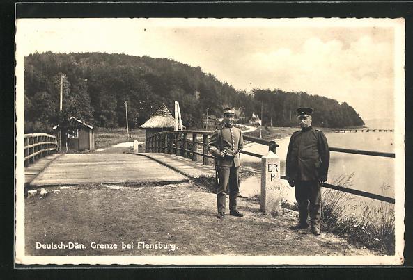 AK Flensburg, Motiv von der deutsch-dänischen Grenze