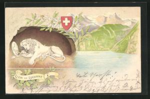 Präge-Lithographie Lion de Lucerne, Löwe von Luzern