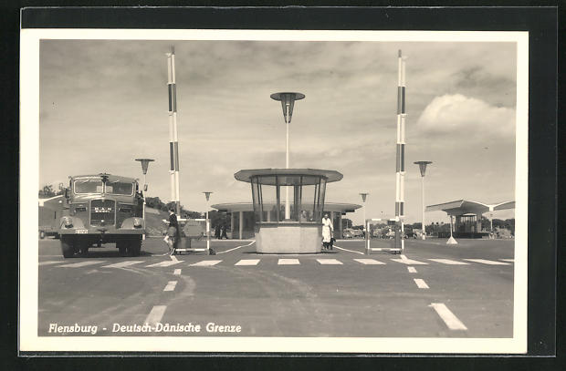 AK Flensburg, Deutsch-dänische Grenze, MAN Diesel Lkw
