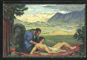 Künstler-AK Bundesfeier 1917, Für das schweiz. Rote Kreuz, Ganzsache