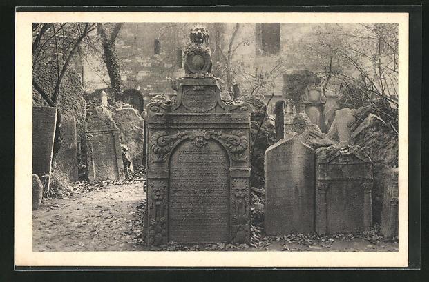 AK Prag, Jüdischer Friedhof, Grabmahl
