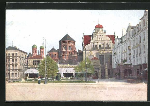 AK München, Hotel Leibefelder, Künstlerhaus, Frauentürme und Synagoge