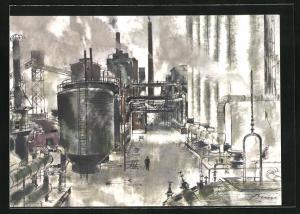 Künstler-AK Aral, Das Ruhrgebiet, In den Kokereien des Reviers..., Industrie
