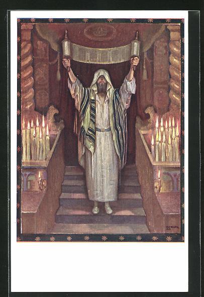 AK Mann mit Thorarolle in der Synagoge