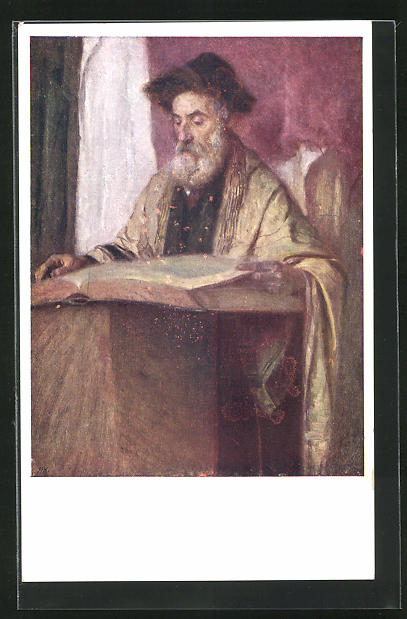 AK Mann liest die Thora in der Synagoge