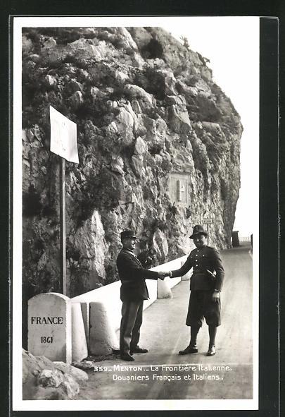 AK Menton, La Frontière Italienne, Douaniers Francais et Italiens, Grenze