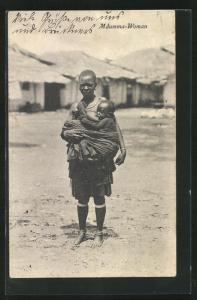 AK Afrikanische Frau mit Kind im Schultertuch, Mdumma-Woman, afrikanische Volkstypen