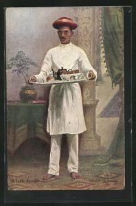 AK Indien, Indischer Diener mit Tablett in den Händen, A Table Servant