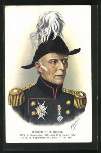 AK Schweizer General G. H. Dufour, Halbportrait mit Uniform