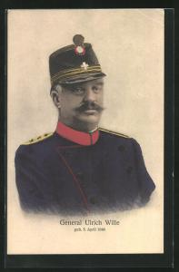 AK Schweizer General Ulrich Wille, Halbportrait in Uniform