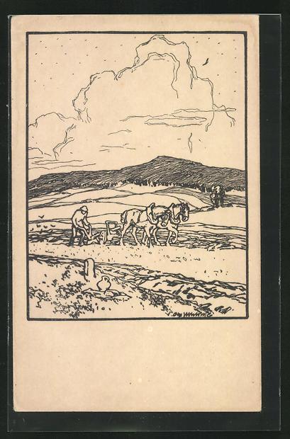 Künstler-AK Otto Ubbelohde: Landschaft mit Ackersmann